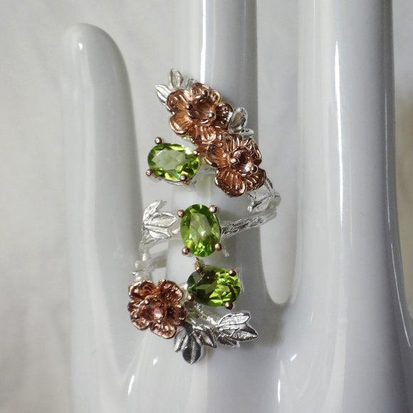 Handmade Jewelry - Peridot Sterling Silver Ring, White/Rose Gold Plt